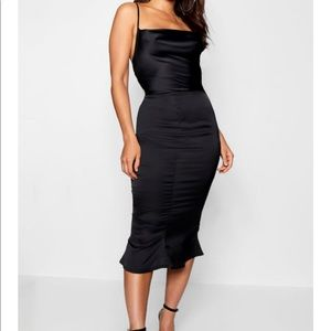 Satin Cowl Neck Lace Up Fish Tail Midi Dress
